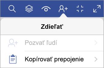 Kopírovanie prepojenia vo Visio Vieweri pre iPad