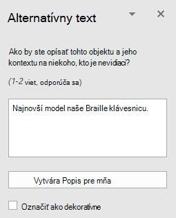 Tabla alternatívny text v programe Word Win32 pre obrázky