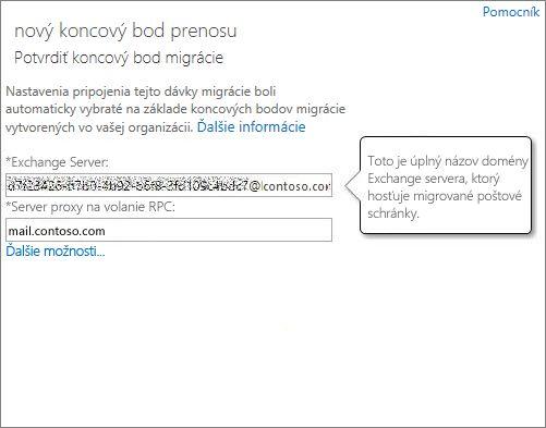 Potvrdené pripojenie pre koncový bod funkcie Outlook Anywhere.