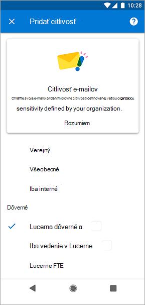 Snímka obrazovky s menovkami citlivosti v Outlooku pre Android