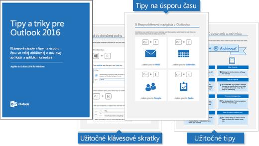 Obal elektronickej knihy Tipy atriky pre Outlook 2016, vybrané strany zobrazujúce tipy
