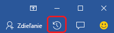 Tlačidlo aktivity vblízkosti konca úplne vpravo na páse snástrojmi vo Worde, Exceli aPowerPointe.