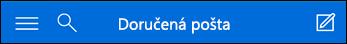 Horný navigačný panel miniaplikácie Outlook Web App