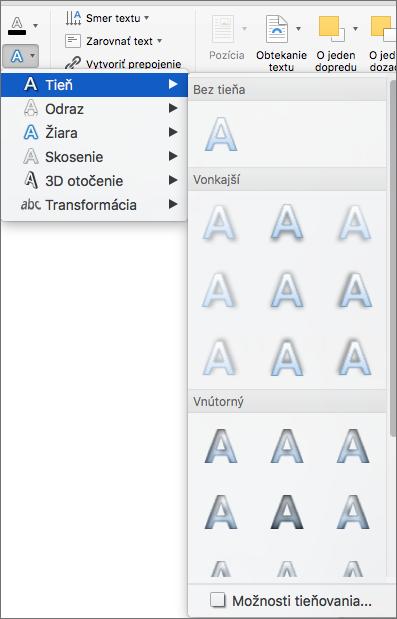 Možnosti tieňovania vponuke Textové efekty