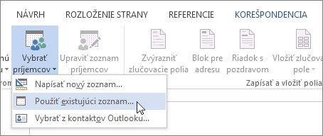 Snímka obrazovky skartou Korešpondencia vo Worde zobrazujúca príkaz Vybrať príjemcov svybratou možnosťou Použiť existujúci zoznam.