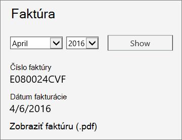 Snímka obrazovky zobrazujúca časť Faktúra stránky Podrobnosti faktúry v Centre spravovania služieb Office 365.