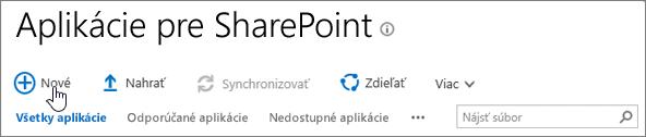 Katalóg aplikácií SPO SharePoint so zvýrazneným tlačidlom Nový