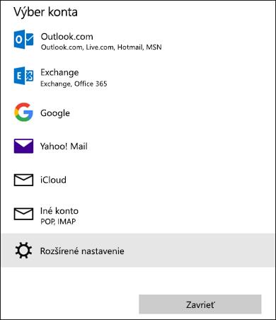 Vyberte dialógové okno konta, ktoré vám zobrazí zoznam e-mailových služieb.