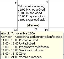 Kontextové okno so zobrazením všetkých plánovaných činností.