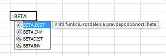 Príklad automatického dokončovania funkcie