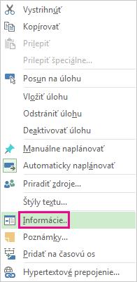 Ponuka pre úlohy otváraná kliknutím na pravé tlačidlo myši