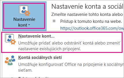 Ak chcete odstrániť konto Gmail, vyberte položky Súbor, Nastavenie kont, Nastavenie kont.