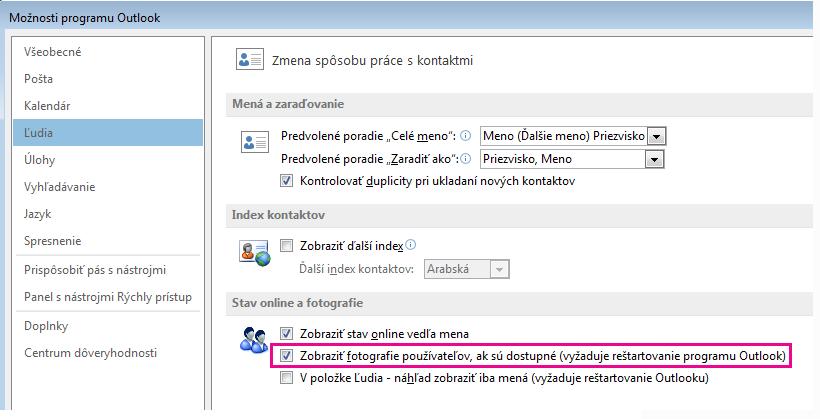 Snímka obrazovky s oknom Možnosti programu Outlook a zvýrazneným políčkom na povolenie fotografií