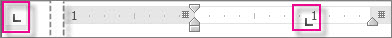 Zobrazenie vodorovného pravítka na Nastavenie zarážok tabulátora.