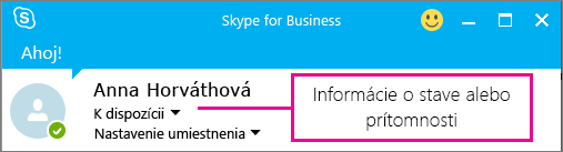 Príklad online stavu používateľa vSkype for Business.