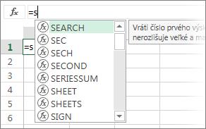 Zoznam Automatické dokončovanie vzorca