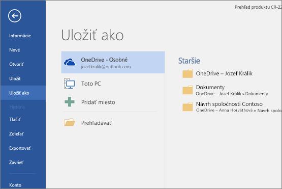 Položka Uložiť ako s predvolenou možnosťou OneDrive