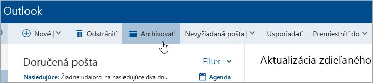 Snímka obrazovky stlačidlom Archivovať