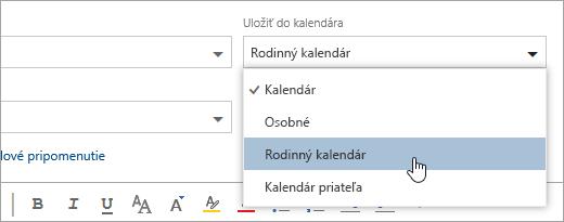 Snímka obrazovky s rozbaľovacou ponukou Uložiť do kalendára