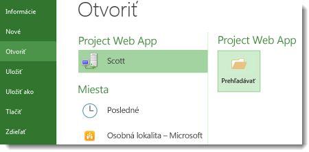 Tlačidlo Prehľadávať na otvorenie súboru aplikácie Project Web App