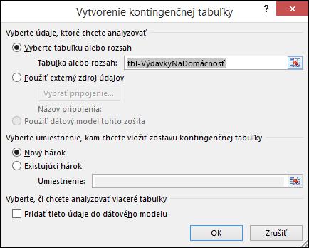Dialógové okno Excelu Vytvorenie kontingenčnej tabuľky