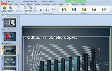 Karta Nástroje grafu sa zobrazí po kliknutí na graf.