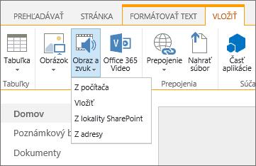 Snímka pása s nástrojmi SharePointu Online. Vyberte kartu Vložiť a potom položku Obraz a zvuk. Zadajte, či chcete pridať súbor z počítača, umiestnenia v SharePointe, webovej adresy alebo cez vkladací kód .