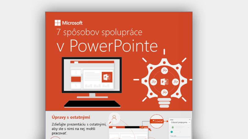 Infografika zobrazujúca sedem spôsobov spolupráce v PowerPointe