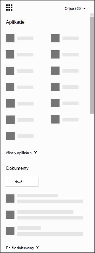 Spúšťač aplikácií služieb Office 365