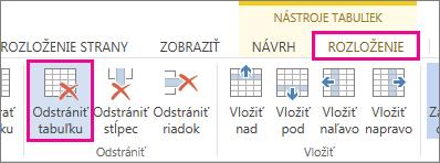 Obrázok tlačidla Odstrániť, ktoré sa nachádza na karte Nástroje tabuliek – Rozloženie na páse s nástrojmi.
