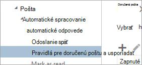Snímka obrazovky s pravidlá pre doručenú poštu a usporiadať v ponuke Možnosti