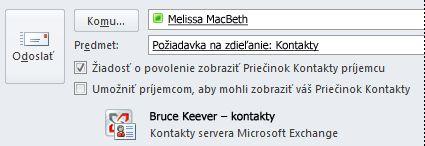 Požiadanie o prístup do priečinka Kontakty v konte Exchange iného používateľa