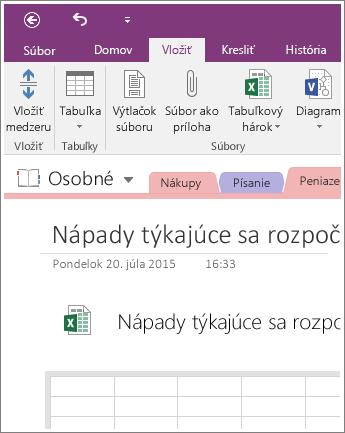 Snímka obrazovky s novým tabuľkovým hárkom vo OneNote 2016.