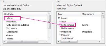 Priradenie stĺpca z Excelu do poľa kontaktu v Outlooku