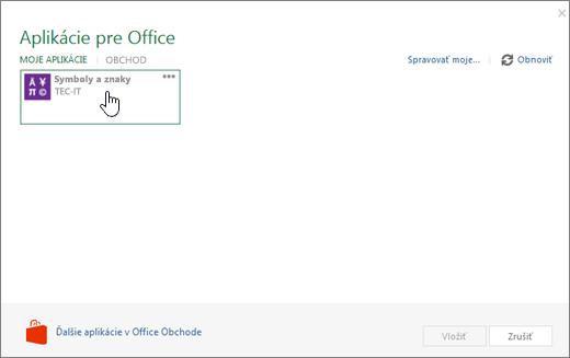 Snímka obrazovky zobrazuje moje aplikácie karte so zoznamom aplikácií pre Office.