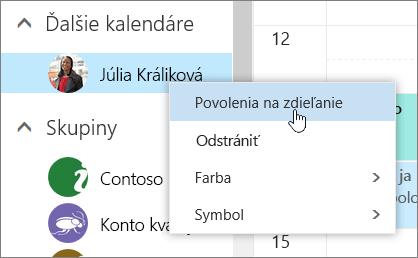 Snímka obrazovky s kontextovou ponukou Iné kalendáre.