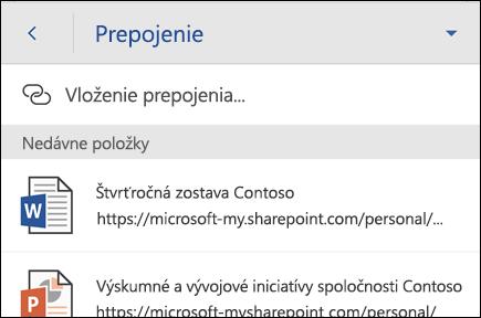 Vloženie hypertextového prepojenia na naposledy otvorený súbor balíka Office.