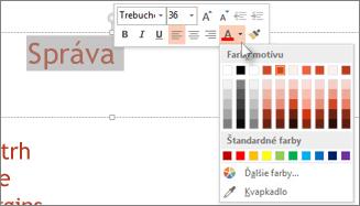 Zmena farby textu