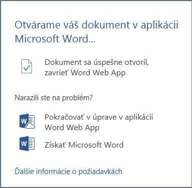 Dialógové okno Otvoriť v programe Word