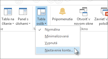 Na karte Zobraziť kliknite na položky Tabla osôb a potom Nastavenie konta