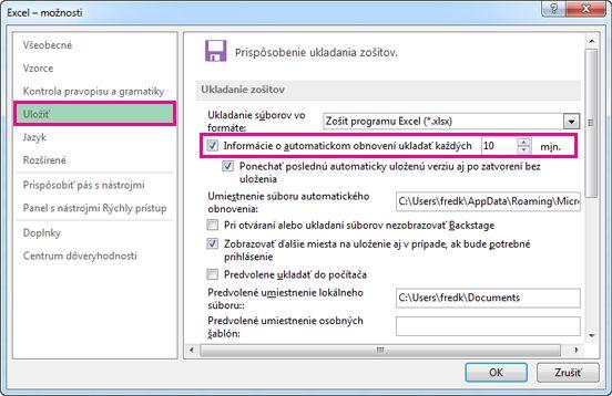 Možnosť Uložiť v dialógovom okne Excel – možnosti