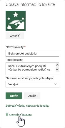 Tímové lokality SharePoint odstránenie umiestnenia lokality