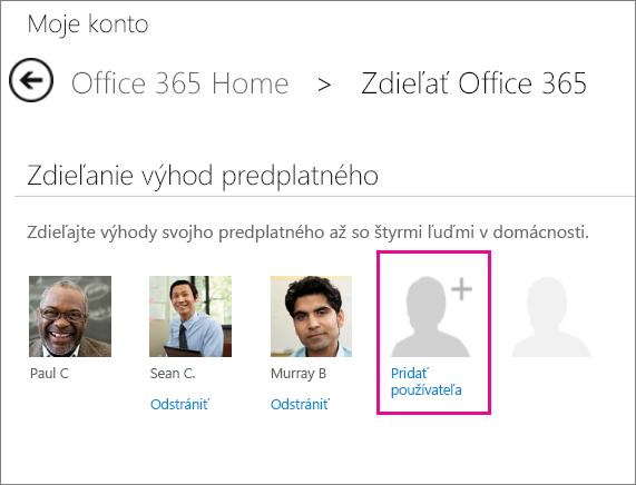 Snímka obrazovky stránky Zdieľanie služieb Office 365 svybratou možnosťou Pridať používateľa.