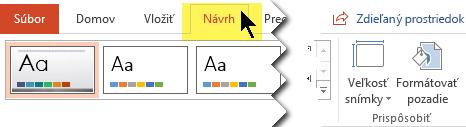 Na páse s nástrojmi kliknite na kartu Návrh. Tlačidlo ponuky Veľkosť snímky pri pravom kraji obsahuje ovládacie prvky orientácie snímky.