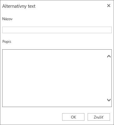 Snímka obrazovky dialógového okna Alternatívny text spoľami Názov aPopis.