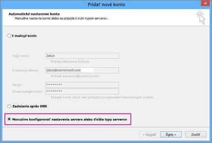 Začiarknite políčko Manuálne konfigurovať nastavenia servera alebo ďalšie typy služieb.