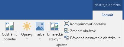 Tlačidlo odstrániť pozadie sa nachádza na karte Nástroje obrázka na karte Formát na páse s nástrojmi v Office 2016.
