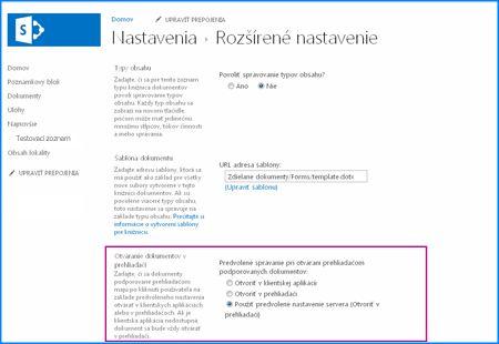 Snímka obrazovky so stránkou rozšírené nastavenie knižnice dokumentov v službe SharePoint