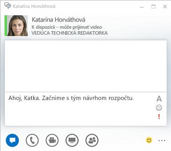 Snímka obrazovky s oknom na zadávanie okamžitých správ
