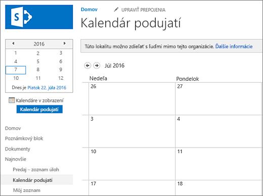 Príklad aplikácie Zoznam kalendárov.